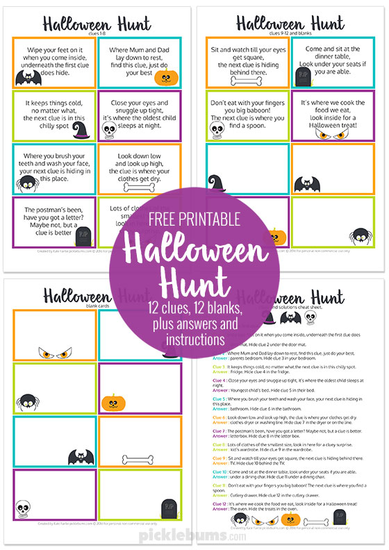 photograph relating to Clue Cards Printable titled Halloween Hunt Absolutely free Printable - Pickles