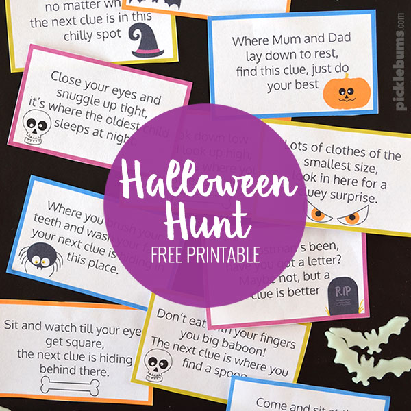 Halloween Hunt! Free printable Halloween treasure hunt