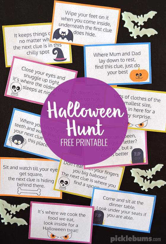 photograph about Clue Cards Printable referred to as Halloween Hunt Absolutely free Printable - Pickles