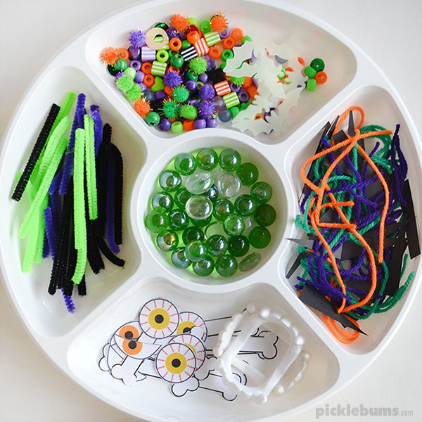 Halloween Play Dough Set  with free printable eyes and bones accessories