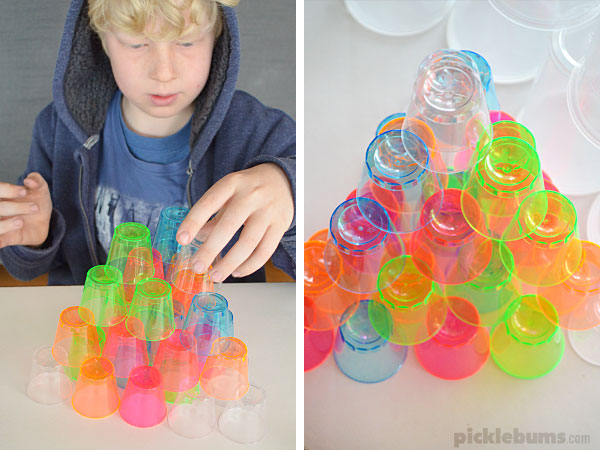 Plastic cup play - lots of ideas for using cheap plastic cups