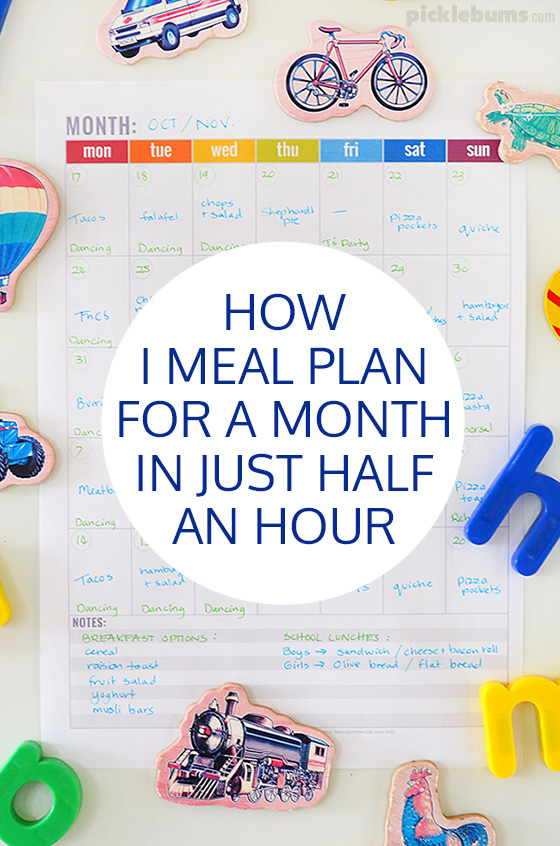 How I meal plan for an entire month in just half an hour!