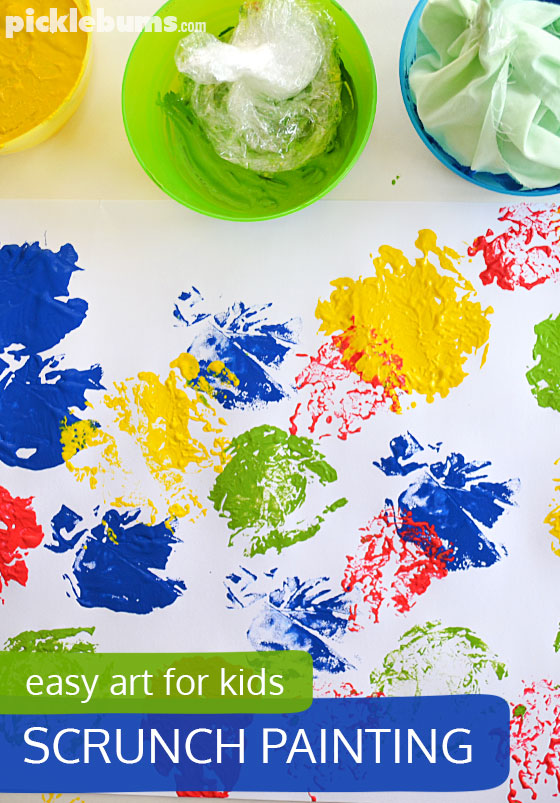 Scrunch painting! An easy process art activity