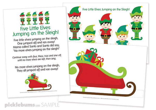 picture about Christmas Pickle Story Printable identified as 5 Very little Elves Xmas Track - Free of charge Printable Puppets