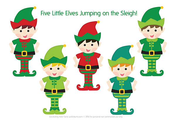 Five Little Elves Christmas Song  Free Printable Puppets  Picklebums