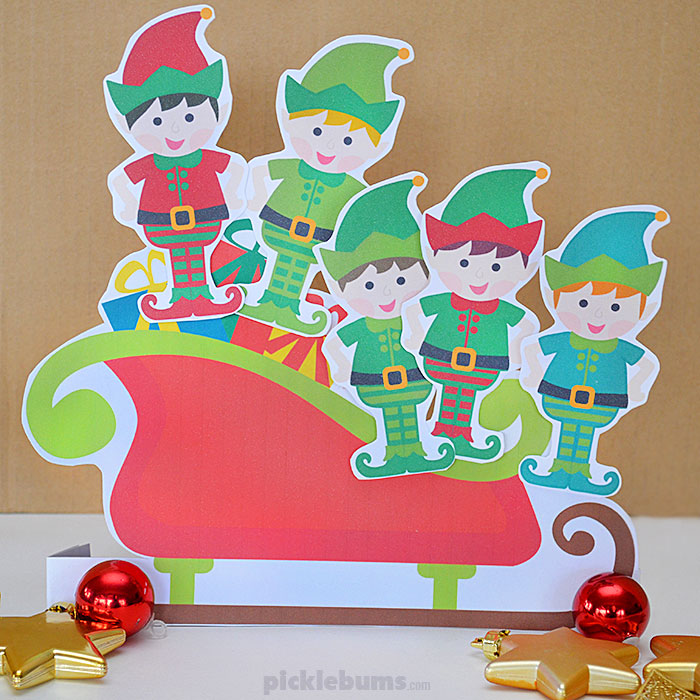 Five Little Elves Song - a Christmas counting song with free printable puppets