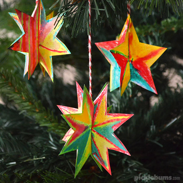simple christmas star decorations with free printable template and easy instructions