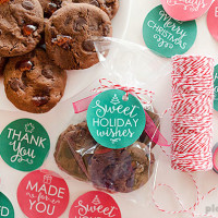 Chocolate Cherry Cookies and free printable holiday gift tags