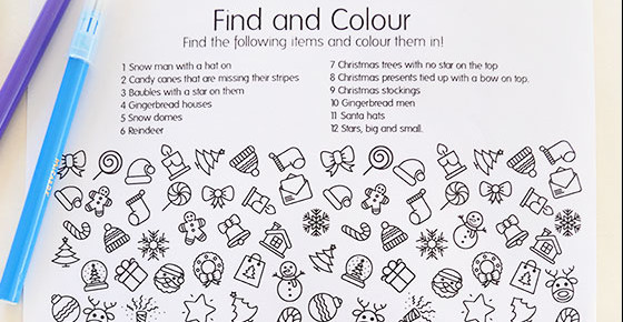 Free Printable Christmas Find and Colour Activity