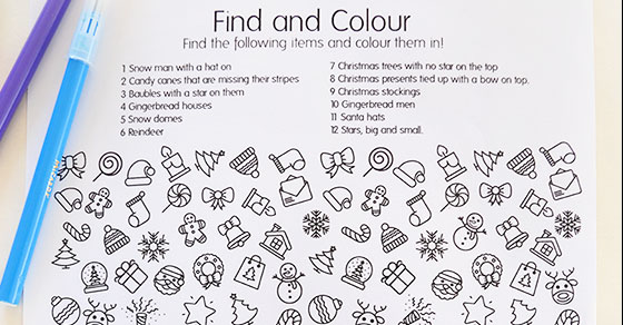 Christmas Pictures To Colour.Free Printable Christmas Find And Colour Activity Picklebums
