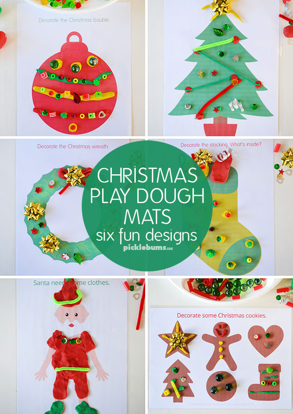 Christmas play dough mats - set of six open-ended designs