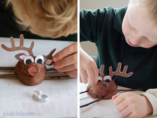 Reindeer Play Dough - free printable antlers, ears and noses and ideas for making fun play dough reindeer!