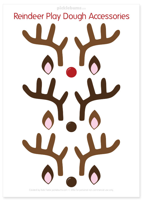 Free printable reindeer play dough accessories