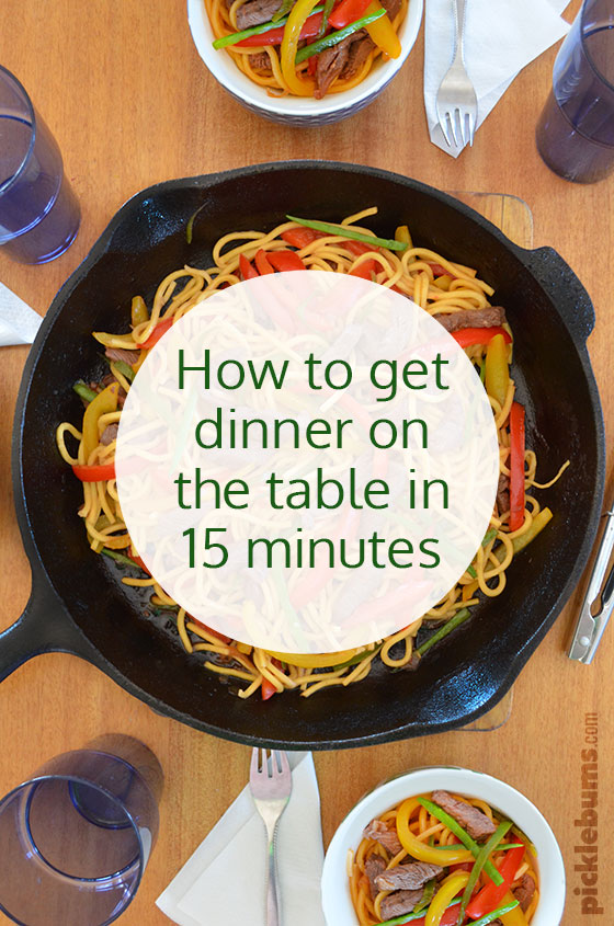 How to get dinner on the table in 15 minutes! Plus a delicious quick and easy beef stir and veggie fry recipe