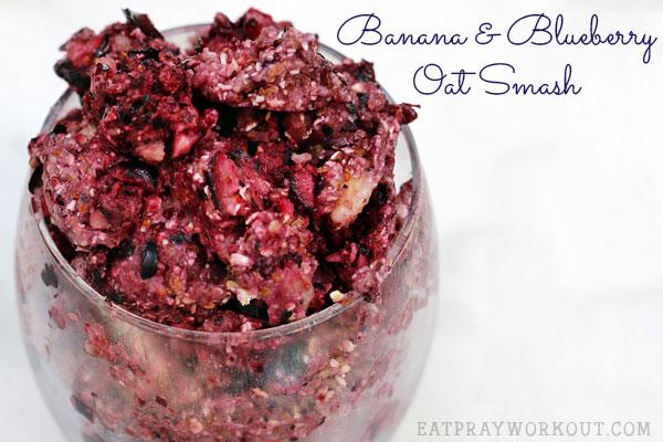 Low GI Breakfast ideas - Banana and blueberry oat smash