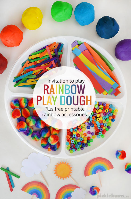 picture relating to Free Printable Rainbow identified as Rainbow Perform Dough Totally free Printables - Pickles