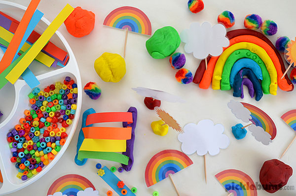 Rainbow Play Dough Invitation to Play - plus free printable rainbow accessories