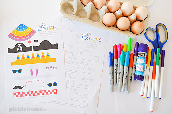 Make some easy Easter egg people with our free printable hats and extras