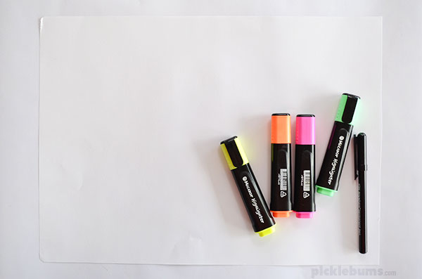 Highlighter drawing - try one of these when you need to keep your kid busy!