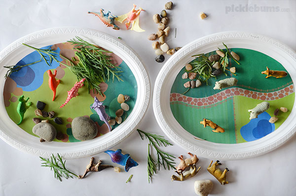 Play Plates - quick and easy imaginative play on a disposable plate! Plus 2 bonus free printable play mats for dino land and farm land play