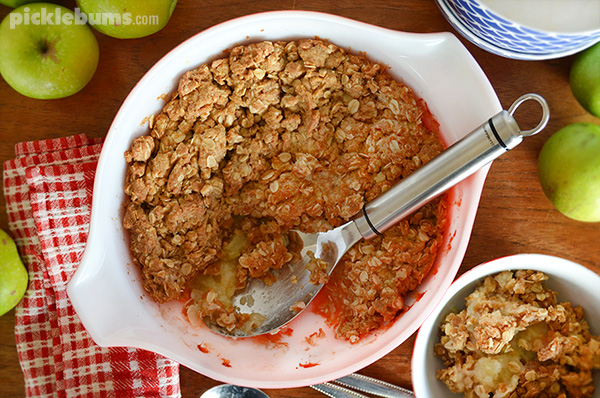 Quick and easy apple crumble - no rubbing in of butter required!