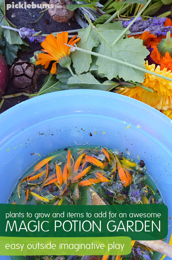 Magic Potion Gardens - what plants to grow in your magic potion garden, and other awesome items to add to this fun outside imaginative play.