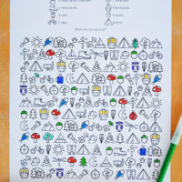 Free printable - outdoor adventure find and colour activity