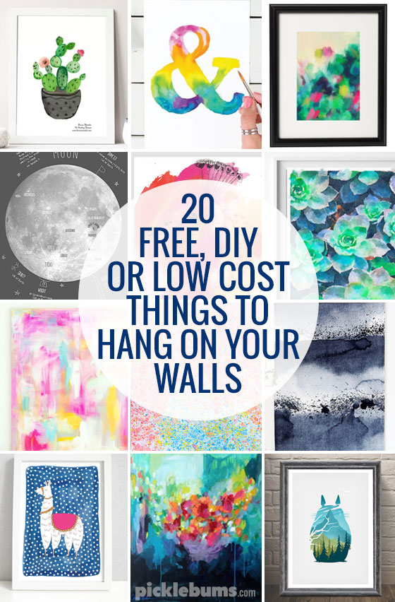20 free, DIY, or low cost things to hang on your walls.