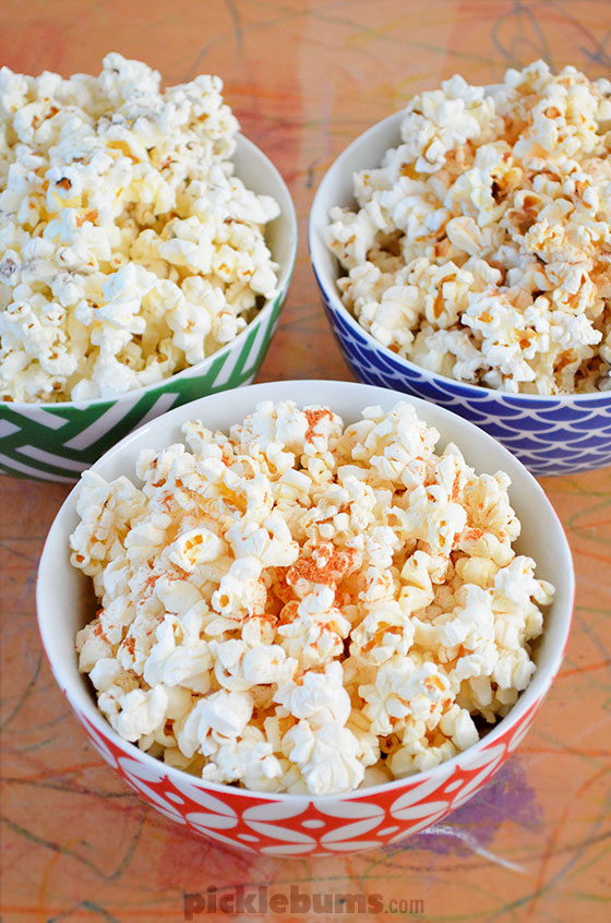 Flavoured popcorn - three flavours and so easy to make the kids can do it themselves!