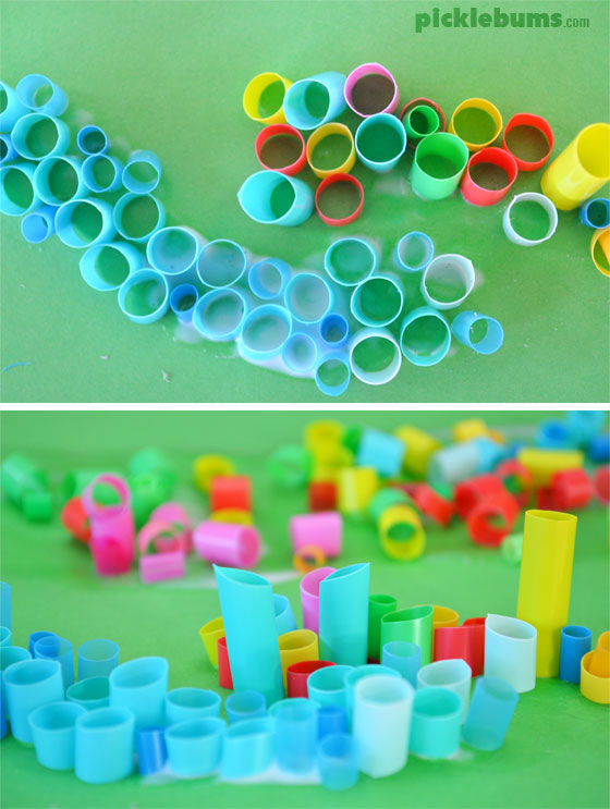 Straw mosaic art - a  super cool, super easy art activity.
