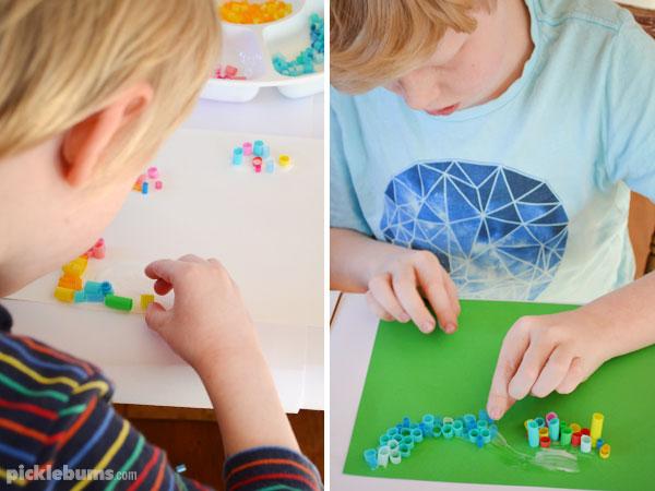 Straw mosaic art - a  super cool, super easy art activity.