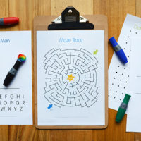 DIY Wipe Clean Activity Board and Free Printable Activity Pages