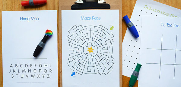 Easy DIY Wipe Clean Activity Board and Free Printable Activity Pages