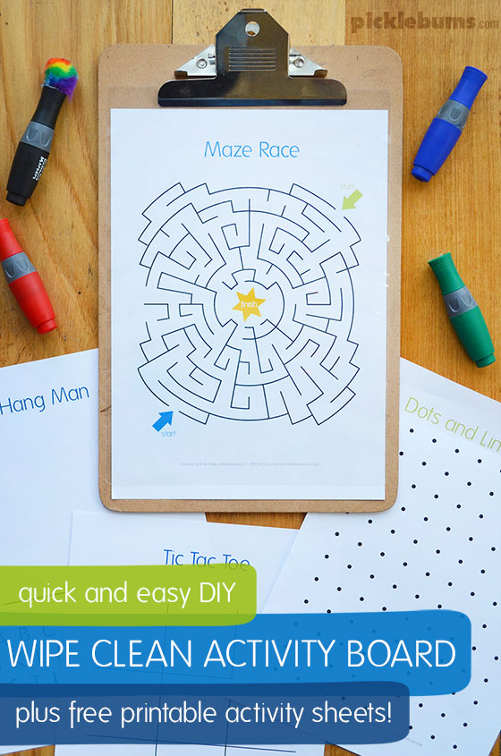 Quick and easy DIY wipe clean activity board with free printable activity pages