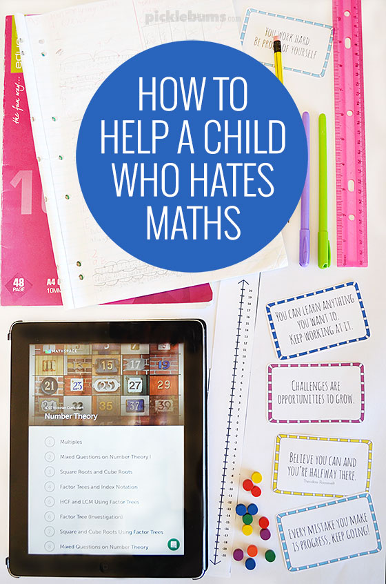 How to help a child who hates maths. - useful tips and free printable growth mindset note cards.