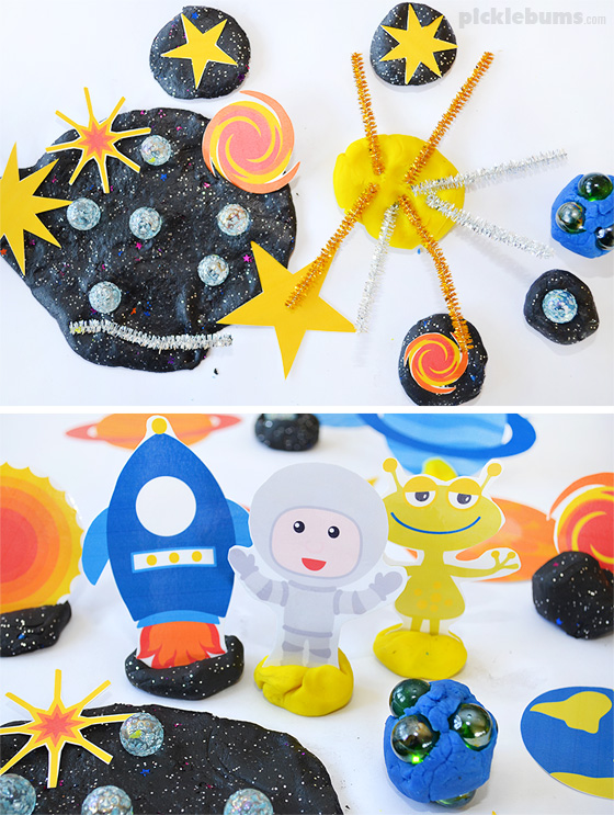 Space Place Dough! Try our soft stretchy space play dough recipe and our free printable star accessories, plus more space themed play dough ideas!