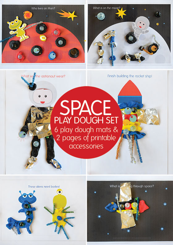 Space Place Dough! 6 Space themed play dough mats plus 2 pages of space accessories.