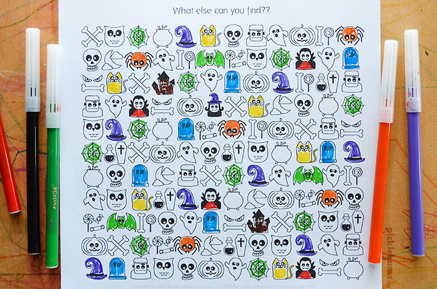 Halloween Find and Colour - fun free printable activity.