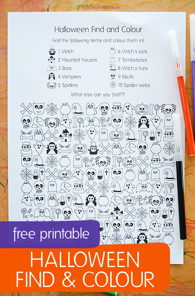 Halloween Find and Colour - fun free printable activity for kids