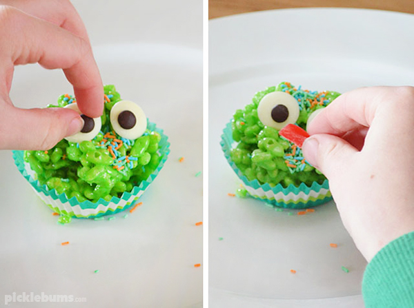 Making sticky gooey monster ricebubble treats.