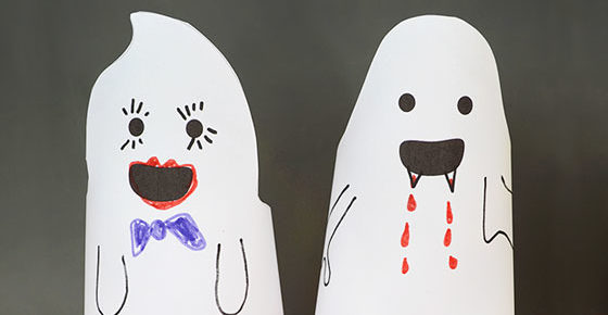 Fun Friendly Paper Ghosts – free printable