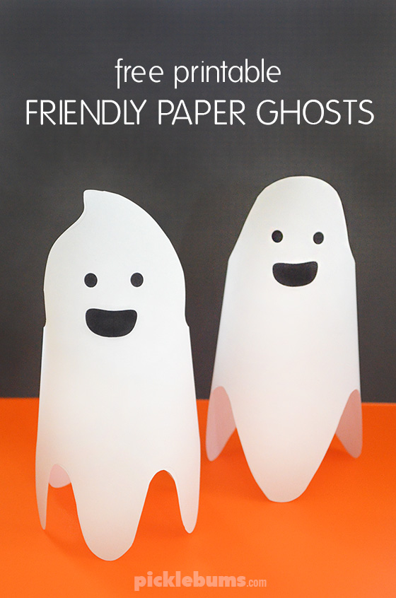 Make these fun and friendly paper ghosts with this simple free printable