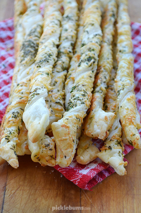 Delicious cheese and herb pastry straws