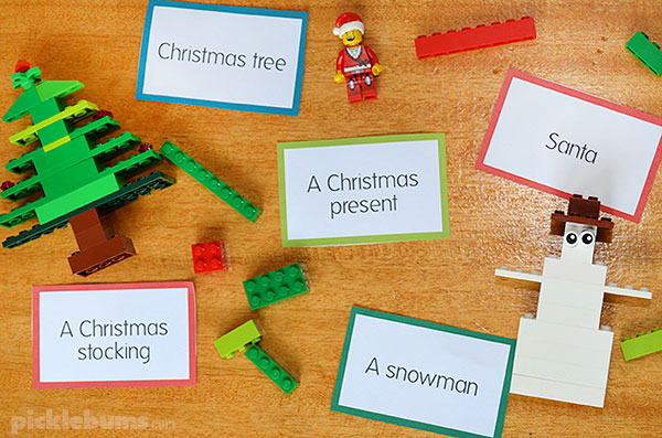 Free printable Christmas challenge cards - great for drawing or building ideas.