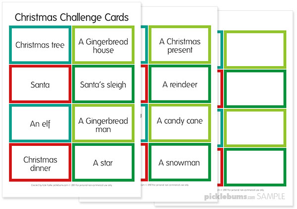 Free printable Christmas challenge cards - great for drawing or building ideas. Download the printable cards and keep the kids busy