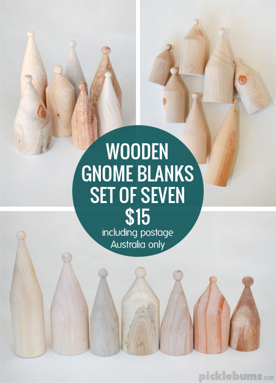 set of seven wooden gnome blanks for sale