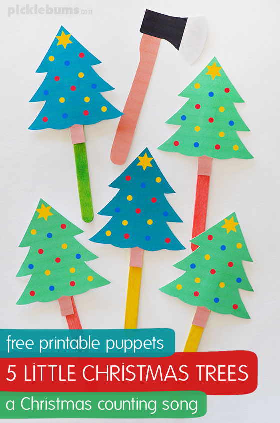 photo relating to Free Printable Christmas Tree referred to as 5 Minimal Xmas Trees Tune - free of charge printable puppets