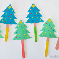 Five Little Christmas Trees Song – free printable puppets