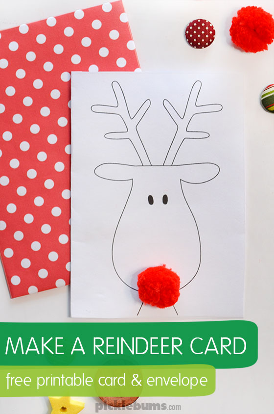 Christmas reindeer card free printable picklebums make a cute reindeer card and add a funny pom pom nose free printable card maxwellsz