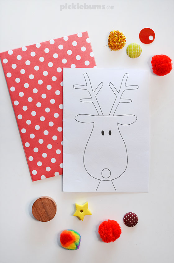 Free printable reindeer card ready to decorate